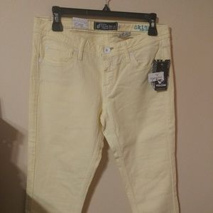 Volcom Brand Jeans Juniors Skinny 7 Pale Yellow